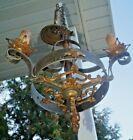 Antique 1920s Art Deco Cast Iron Chandelier Hanging Ceiling Light Fixture LOOK