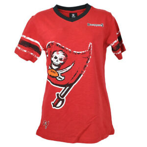 NFL Team Apparel Tampa Bay Buccaneers V-Neck Red Youth Shirt Tee Girls Short