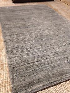 Modern Spectacular Gray Texture 8' X 10' Wool Solid Area Rug Woven Elegant Gabeh