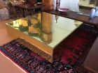 """MCM 42""""x42""""BRASS CLAD/RIVETED COFFEE TABLE ON PLINTH BASE-ATTRIBUTED TO SARREID~"""