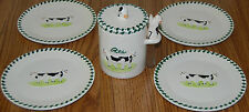 Country Theme Couple Cows Sigma Snack Hors d'Oeuvres Plates and Crock Set