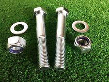 PAIR Tow Bar / Tow Ball Bolts 130mm Long C/w Nyloc Nut & Washer 8.8 HIGH TENSILE