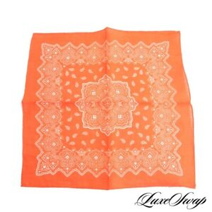 NWOT Made in Italy 100% Linen Orange Bandana Paisley Hand Rolled Pocket Square