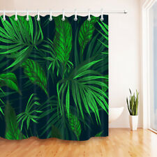 Polyester Fabric Shower Curtain Set Tropical Forest Plants Green Leaves Design