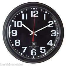 "Chicago Lighthouse 9.25"" Low Vision Quartz Wall Clock - Black Face with White #"