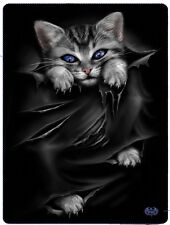 Spiral Direct BRIGHT EYES FLEECE BLANKET Gift/Cat/Funny/Cute/Goth/Throw Blanket