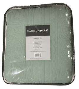 Madison Park Tuscany 3pc Scalloped Coverlet Set King / Cal King Seafoam Green