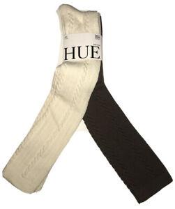 New w/tags, HUE 2PK.  Ivory & Shitake Cable Knee Socks, OS S/17280