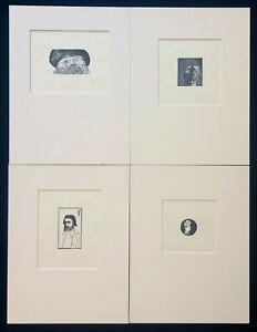 Lot: 4 Leonard Baskin + Henry Evans Woodblock Prints, SIGNED, Near Fine