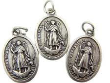 "St Raphael Medal Set of 3 Catholic Metal Pendant Gift Lot 3/4"" from Italy"