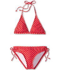 SPLENDID LITTLES POLKA DOT TRIANGLE HALTER TUNNEL BIKINI SWIM SET RED SZ 10  $64