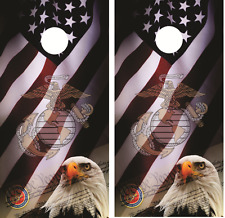 U.S. Marines American Eagle Cornhole Board Skin Wrap Decal Set with Lamination
