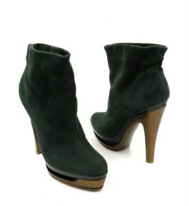 FERRAGAMO Size 7 7A Narrow Green Suede Platform Pull On High Heel Booties Boots
