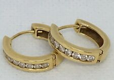 A Pair Of 18 Carat Gold Hoop Earrings 750 ~ Set with 9 Brilliant Cut Diamonds
