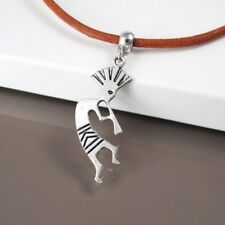 Silver Alloy Native American Kokopelli Music Pendant Brown Leather Necklace