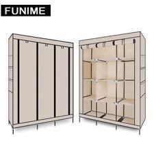 Triple Canvas Folding Close Wardrobe Cupboard Hanging Clothes Storage Organizer