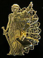 Attorney Pin Brooch Lawyer 24 Kt Gold Plate Councilor Lady Justice Scales Gavel
