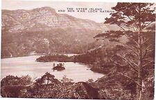 Otter Island and Ben A'An Loch  Katrine - Valentines Vintage Postcard