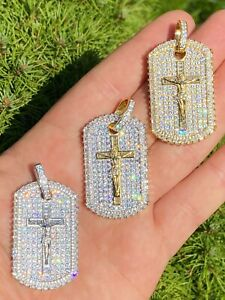 Solid 925 Sterling Silver / Gold Dog Tag Iced Baguette Diamond Jesus Necklace