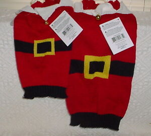 HOLIDAY TIME SANTA SUIT WITH BELLS * RED AND WHITE AND BLACK  * NEW *CUTE*