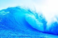 "Beautiful Blue Ocean Wave crashing at sea CANVAS ART PRINT poster 24""X16"""