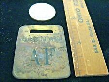 "VINTAGE MOBILE OIL GAS/OIL PUMP BRASS TAG Mobil Oil ""AF"" FUEL OIL Collectible AD"