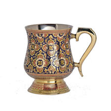 Home Decor Gift Brass Mugs Brass Hand Made Carved Mugs With Enamel Work