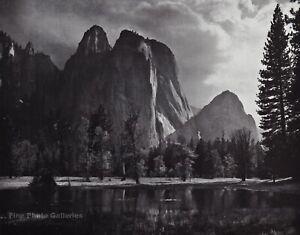 1950s Vintage ANSEL ADAMS Yosemite Valley Cliff Storm Landscape Photo Art 11X14