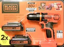 Black & Decker 20V Compact Cordless Drill 2 Lithium Ion Batteries LDX120C-2
