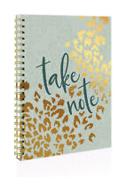 Green & Gold Autumnal 'Take Note' A4 Spiral Bound Twin Wire Hard Cover Notebook