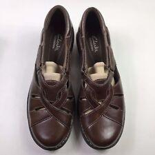 Clarks Nikki Regatta Q Adjustable Brown Leather Cutout Shoes Size: 7 W