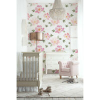 Pink Floral self adhesive Flowers wall Wall Mural Watercolor removable wallpaper