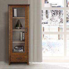 Bathroom Storage Cabinet Glass Door 4 Shelves Linen Toiletries Organizer Brown