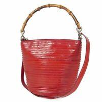 Auth GUCCI Vintage Bamboo Leather Drawstring 2WAY Shoulder Hand Bag 15550bkac