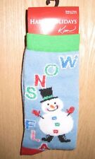 "Kim Light Blue Christmas ""Snow Flake"" Snowman Christmas Socks"