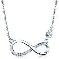 Unendlichkeit Zeichen Damen Halskette 925 Sterling Silber Zirkonia Anhänger Kett