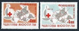 Korea 383-384,384a sheet,MNH.Michel 379-380,Bl.181. Red Cross-100.Henry Dunant