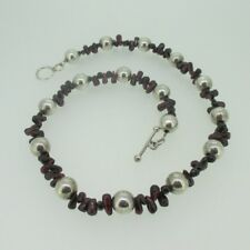 Rhodalite Garnet Bead Necklace with Sterling Silver Beads & Clasp