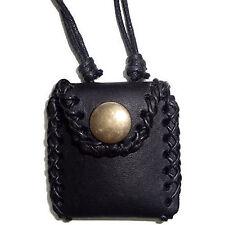 Black Leather Passport Photo Picture Locket Pendant Chain Necklace Mens Ladies