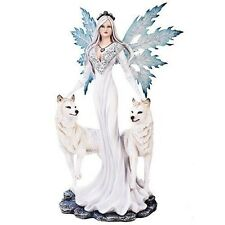 """Large 23"""" Tall Winter Fairy With Two Snow Wolves Guardian Pet Statue Figurine"""