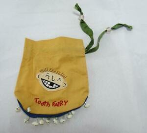 Hand Sewn Yellow Tooth Fairy Bag with Bits of Shells for Teeth