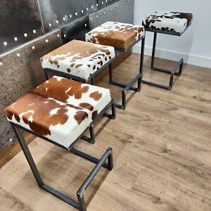 Bespoke / custom made Cowhide topped Steel bar stools  handmade in the U.K
