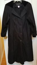 Gallery Petite Black Trench Raincoat Coat Lined Hooded Double Breasted Sz 4P