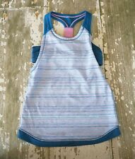 IVIVVA Blue Purple Wee Stripe Racerback Double Athletic Tank Shirt Dance Run 12