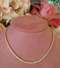 22.50 Ct Round Cut D/VVS1 Diamond 14K Yellow Gold Fn Tennis Necklace 18""