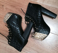 Jeffrey Campbell qulited black Lolita boots with gold spikes size 4