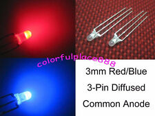 50pcs, 3mm Dual Bi-Color Red/Blue Diffused Bright 3-Pin Led Common Anode Leds