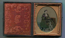 1/6 PLATE AMBROTYPE HAND TINTED c1870 FULL CASED