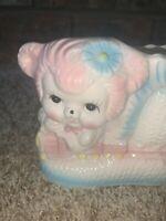 Vintage BABY LAMB Train Shoe Ceramic NURSERY PLANTER Vase Kitschy