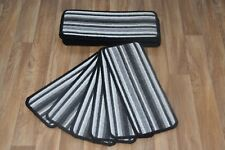 14 Grey Black Striped Open Plan Carpet Stair Treads Anthracite Pad 14 Large Pads